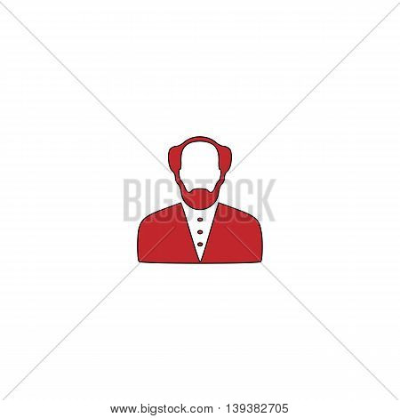 Scientist. Red flat simple modern illustration icon with stroke. Collection concept vector pictogram for infographic project and logo