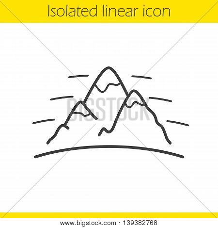 Mountains linear icon. International Day Of Mountaineering emblem. Thin line illustration. Alpinism and hiking contour symbol. Vector isolated outline drawing