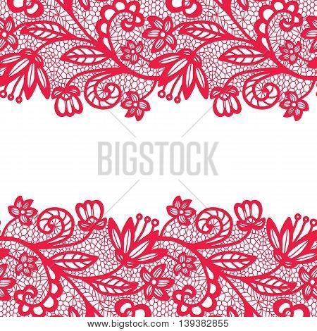 Pink lacy vintage elegant trim. Vector illustration.