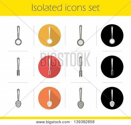 Kitchen instruments icons set. Flat design, linear, black and color styles. Cooking tools. Skimmer, ladle and carving fork isolated vector illustrations