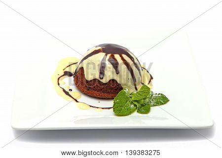 dessert chocolate-nut with Baileys sauce and mint
