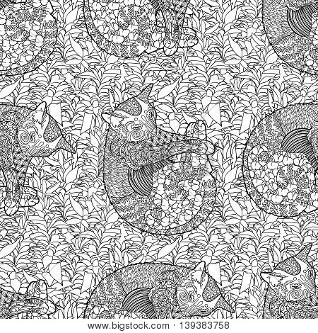 High detailed seamless pattern with pets in zentangle style. Adult coloring page with cat for anti stress art therapy. Zen doodle template for wrapping or scrapbook paper. Vector.