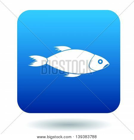 Fish icon in simple style in blue square. Animals symbol