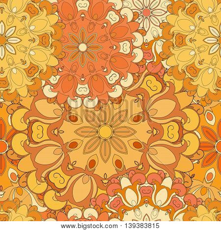 Orange seamless pattern for oriental print or decoration. Japanese designed flowered motif. Eastern, , arabic, indianasian, turkish wrapping-paper or ethnic background. Vector art.