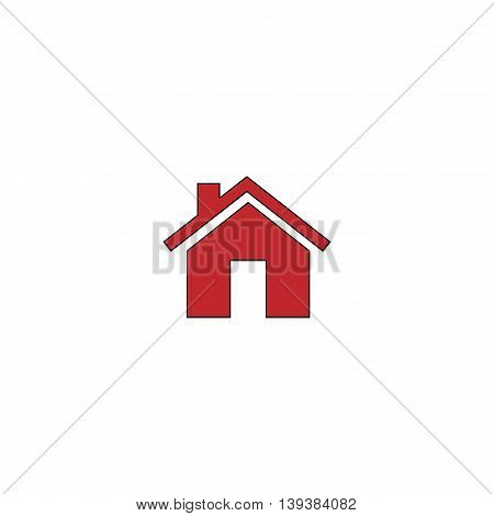 Small house. Red flat simple modern illustration icon with stroke. Collection concept vector pictogram for infographic project and logo