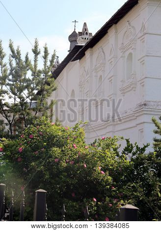 Courtyard of Spaso-Prilutsky Monastery in the Vologda city, Russia. Summer sunny day. White church architecture detail