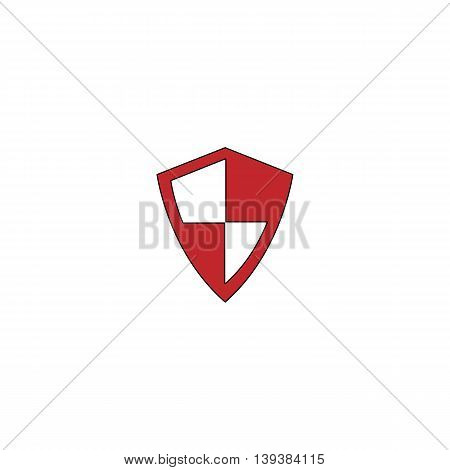 Protection. Red flat simple modern illustration icon with stroke. Collection concept vector pictogram for infographic project and logo