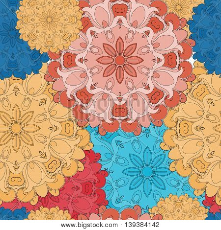 Full-colored seamless pattern for oriental flower print or decoration. Japanese designed motif of mandala. Eastern, arabic, indian, asian, turkish wrapping or ethnic ornament. Vector art background.