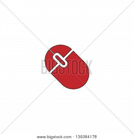 Computer mouse. Red flat simple modern illustration icon with stroke. Collection concept vector pictogram for infographic project and logo