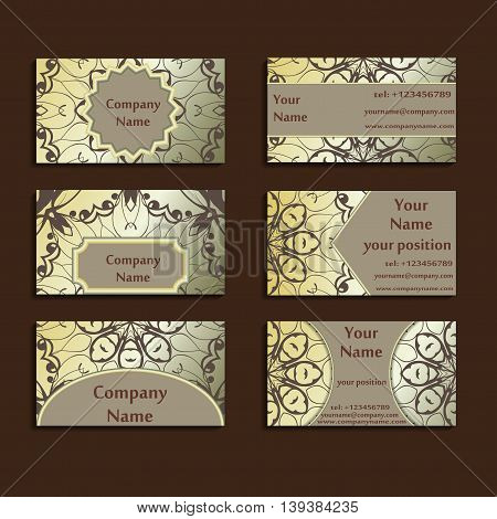 Set of three gilded visiting cards made in oriental style. Vintage designed calling-cards for business with beautiful eastern ornament. Floral vector art.
