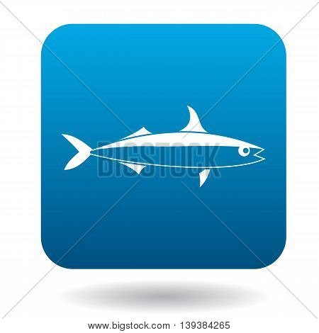 Smelt fish icon in simple style in blue square. Animals symbol