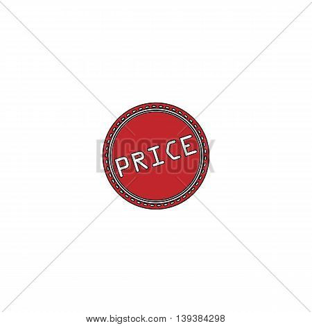 Price Badge Label or Sticker. Red flat simple modern illustration icon with stroke. Collection concept vector pictogram for infographic project and logo