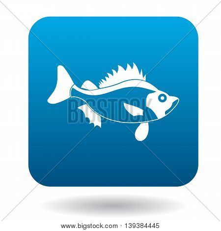 Ruff fish icon in simple style in blue square. Animals symbol