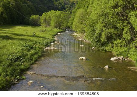 Latoriza river shore in Carpathian mountains, Ukraine
