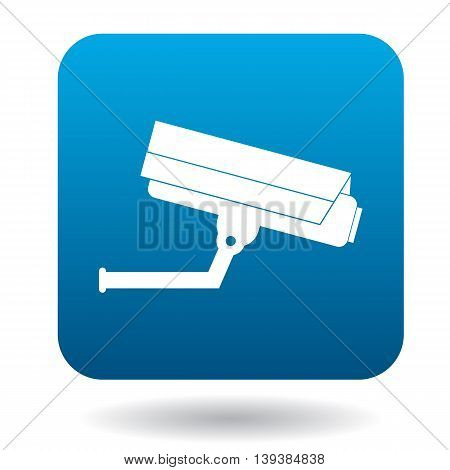 Surveillance camera icon in simple style in blue square. Video symbol