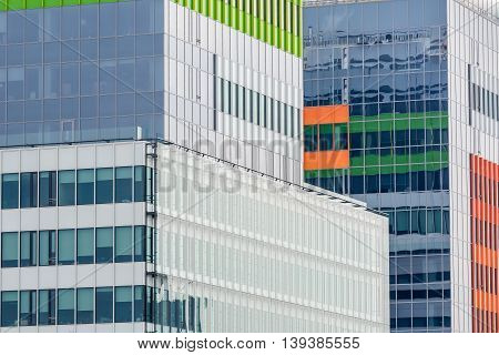 Windows Of A Modern Business Building Exterior. Horizontal Image Of Abstract Modern Building Backgro
