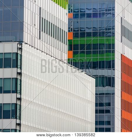 Windows Of A Modern Business Building Exterior. Vertical Image Of Abstract Modern Building Backgroun