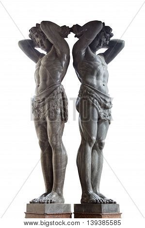 Granite Statues of Atlantes 1848 in Saint Petersburg isolated on white background
