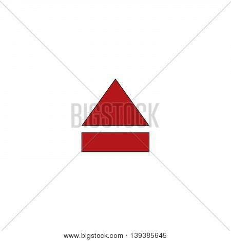 Eject or open player. Red flat simple modern illustration icon with stroke. Collection concept vector pictogram for infographic project and logo