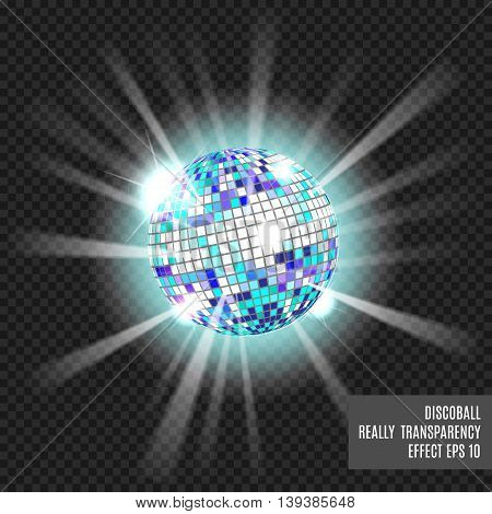 Disco ball with glow. Really tranparency effect. Disco background. Template for your design. Blue