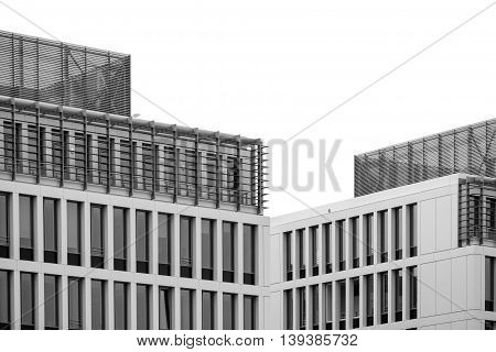 Isolated Building Windows Texture. Black And White Modern Commercial Office Building, Architectural