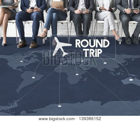 Flight Ticket Booking Destination Journey Concept
