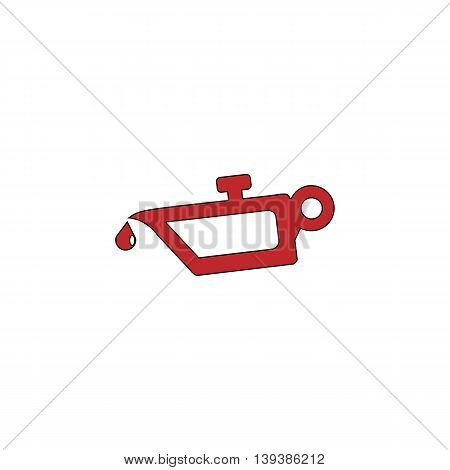 Simple engine oil. Red flat simple modern illustration icon with stroke. Collection concept vector pictogram for infographic project and logo