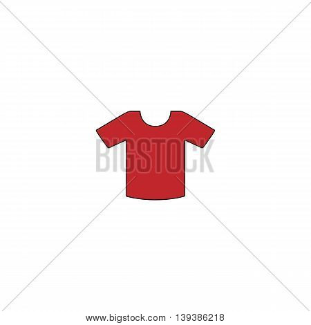 Tee-shirt design template. Red flat simple modern illustration icon with stroke. Collection concept vector pictogram for infographic project and logo