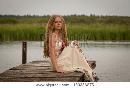 WOMAN, NATURE, RIVER, FOREST, NATURALNESS,PEACE,RELAXATION, MEDITATION, UNITY WITH PRIRODOY