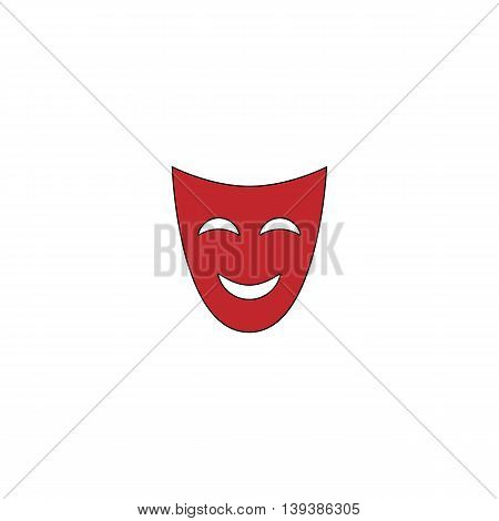 Joyful mask. Red flat simple modern illustration icon with stroke. Collection concept vector pictogram for infographic project and logo