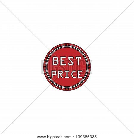 Best Price Badge Label or Sticker. Red flat simple modern illustration icon with stroke. Collection concept vector pictogram for infographic project and logo