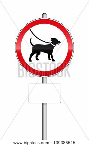 Dogs on leash sign with blank place to be labeled.