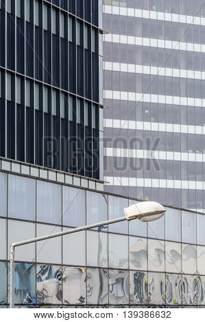 Vertical Background With Building Windows. Close Up Architecture Abstracts From Office Buildings And