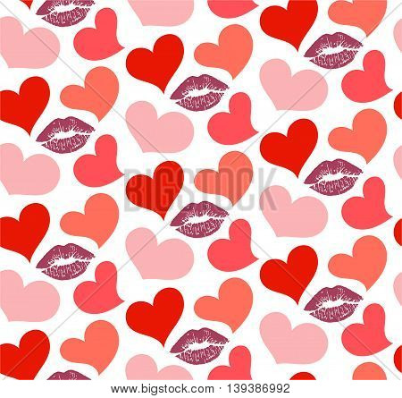Seamless pattern with silhouette of the lips and hearts.