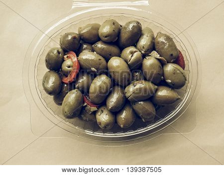 Green Olives Vegetables Vintage Desaturated