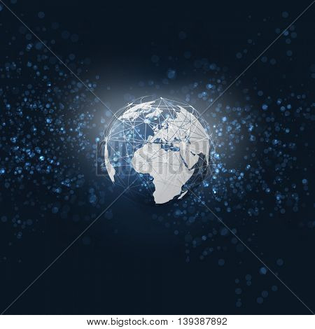 Cloud Computing and Networks with Globe - Abstract Global Digital Network Connections - Modern Style Technology Background, Creative Design Element Template with 3D Wired Earth Concept