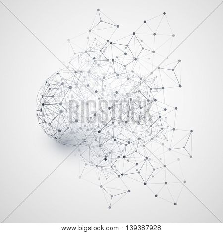 Abstract Cloud Computing and Network Connections Concept Design with Transparent Geometric Mesh, Wireframe Sphere - Illustration in Editable Vector Format