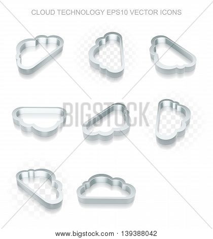 Cloud computing icons set: different views of flat 3d metallic Cloud icon with transparent shadow on white background, EPS 10 vector illustration.
