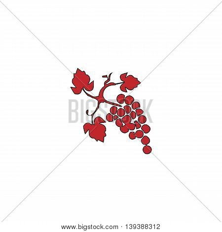 Bunch of grapes. Red flat simple modern illustration icon with stroke. Collection concept vector pictogram for infographic project and logo