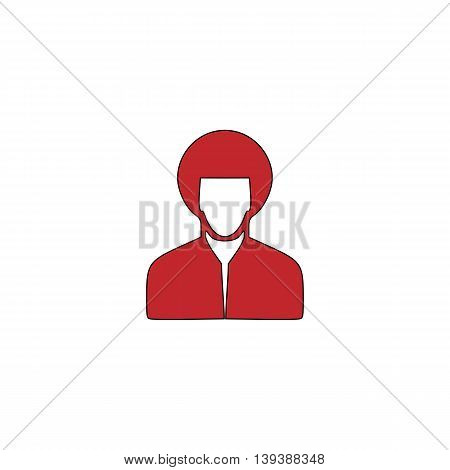 Hippi man. Red flat simple modern illustration icon with stroke. Collection concept vector pictogram for infographic project and logo