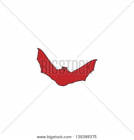 Bat. Red flat simple modern illustration icon with stroke. Collection concept vector pictogram for infographic project and logo