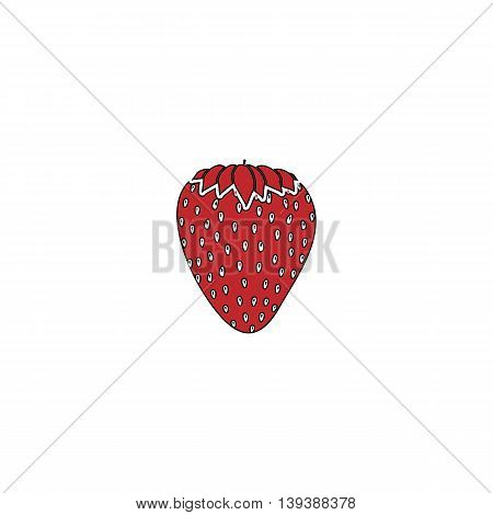 Strawberry. Red flat simple modern illustration icon with stroke. Collection concept vector pictogram for infographic project and logo