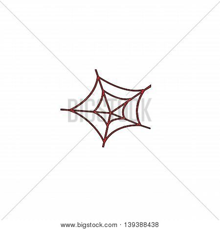 Spiderweb. Red flat simple modern illustration icon with stroke. Collection concept vector pictogram for infographic project and logo
