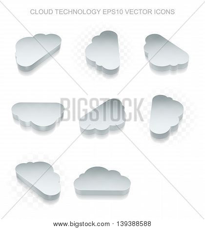 Cloud technology icons set: different views of flat 3d metallic Cloud icon with transparent shadow on white background, EPS 10 vector illustration.