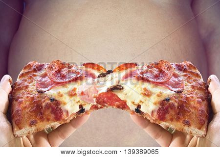 fat man and pizza for diet no junk food concept