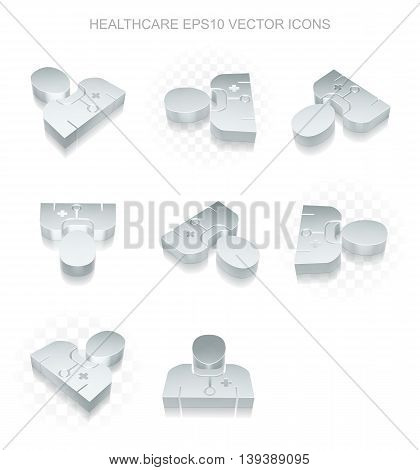 Medicine icons set: different views of flat 3d metallic Doctor icon with transparent shadow on white background, EPS 10 vector illustration.