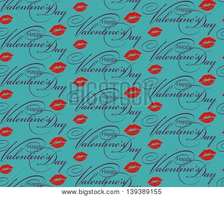 Valentines Day greeting seamless pattern. Hand lettering