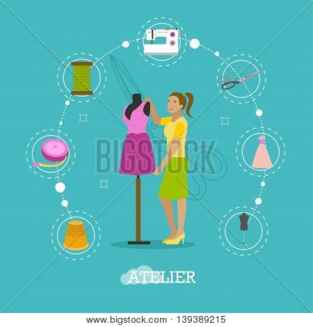 Fashion atelier tailor studio shop concept vector illustration in flat style design. Sewing women clothes and sewing machine.