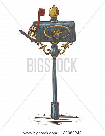 Postal Service. Mail Delivery. Blue Retro Mailbox with Golden Decor Isolated on a White