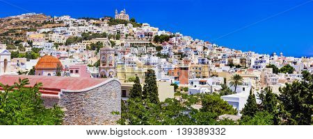 panoramic view of Syros - colorful Ermoupoli town. Greece